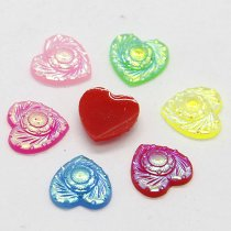 40pcs 10x10mm Mixed AB Color Heart Flower  Resin DIY Accessory