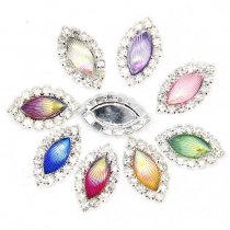 wholesale 10pcs 10x20mm Mixed AB Color Resin Horse Eye Flatback Silver Metal Rhinestone Cabochon Base Cameo Setting DIY Jewelry Charms