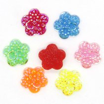 40pcs 10x10mm  Mixed AB Color Tertiary flower Resin  DIY Accessory