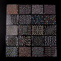 50 Sheets 3D Nail Sticker Colorful Black White 3 Flower Butterfly