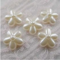 1000Pcs  12*12mm ABS Five Flowers  Pearl Cobochon