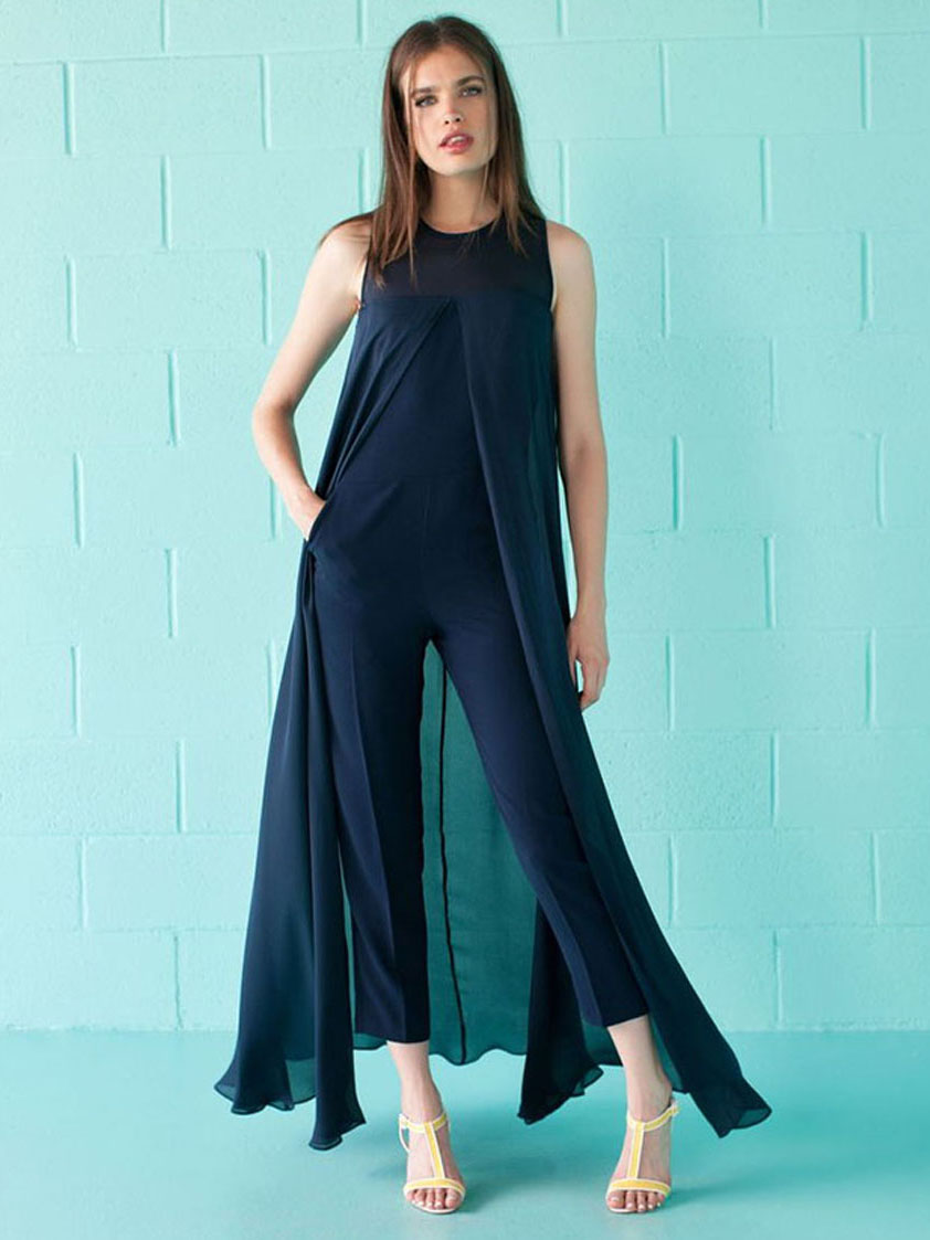 US$ 8.6 - Spring Deep Blue Sleeveless Chiffon Jumpsuits & Rompers ...