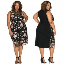Plus Size Flower Printed One Piece Dress SJ3052