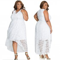 White Plus Size Sexy Lace Dress QZ5201