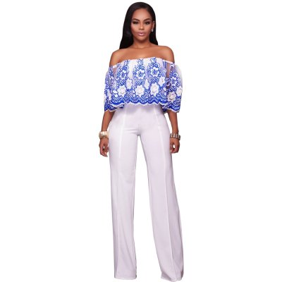 Blue Embroidery Off-Shoulder One-Piece Jumpsuits & Rompers G043B