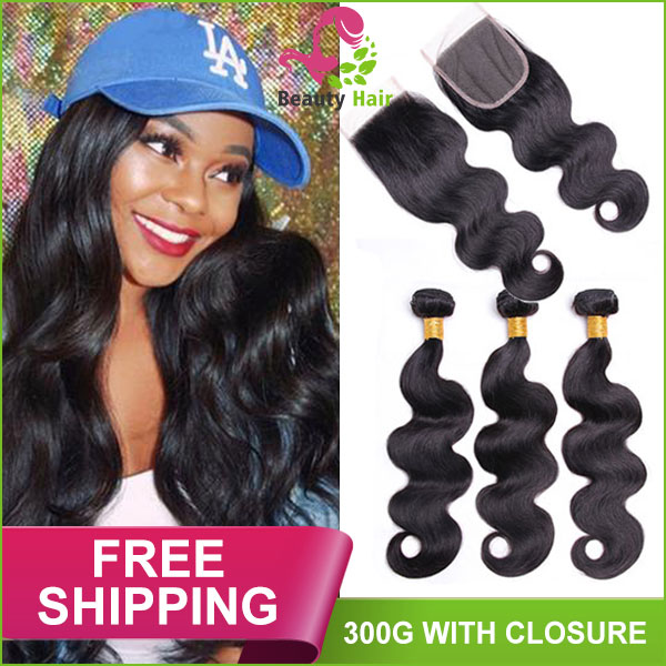9A 10A Body Wave Hair Bundles 300G Cheap Human Hair Weave With 4 4 Lace  Closure free part  mid part  three part 65e8803c3