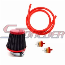 Red 38mm Air Filter + Fuel Hose + Fuel Filter For 50cc 70cc 90cc 110cc 125cc Pit Dirt Bike ATV Quad 4 Wheeler GY6 50cc QMB139 Engine Moped Scooter
