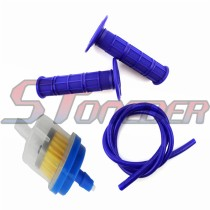 Plastic Fuel Filter + Fuel Hose Line + Durable Soft Rubber Throttle Handle Grips For Pit Dirt Motor Trail Bike Motorcycle Motocross Braaap Taotao Coolster Roketa