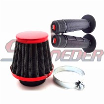 Red 38mm Air Filter + Black Throttle Handle Grips For 50cc 70cc 90cc 110cc 125cc ATV Quad Dirt Pit Motor Trail Bike Motorcycle