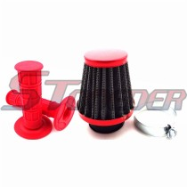 Red 38mm Air Filter Cleaner + Durable Soft Throttle Handle Grips For Pit Dirt Trail Bike ATV Quad 4 Wheeler Motorcycle Motocross 50cc 70cc 90cc 110cc 125cc