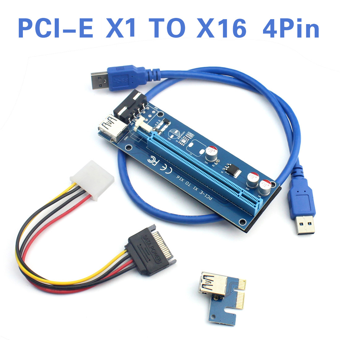 US$ 3.3 - WBTUO PCI-E 1X to 16X extension cable 4Pin PCIE USB3.0 ...