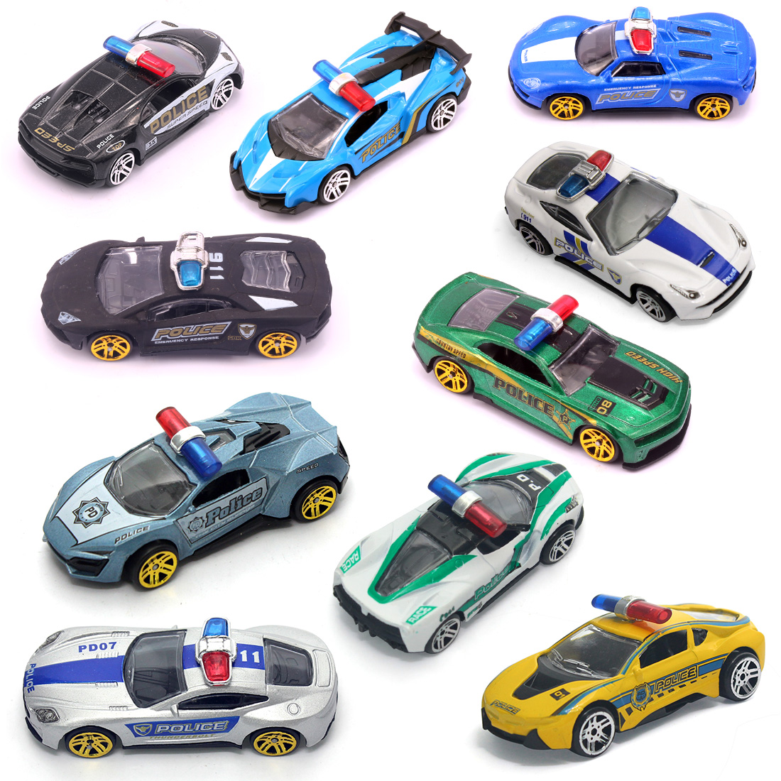 Us 0 99 Feichao Colorful 1 50 Alloy Sliding Police Car Metal Toy