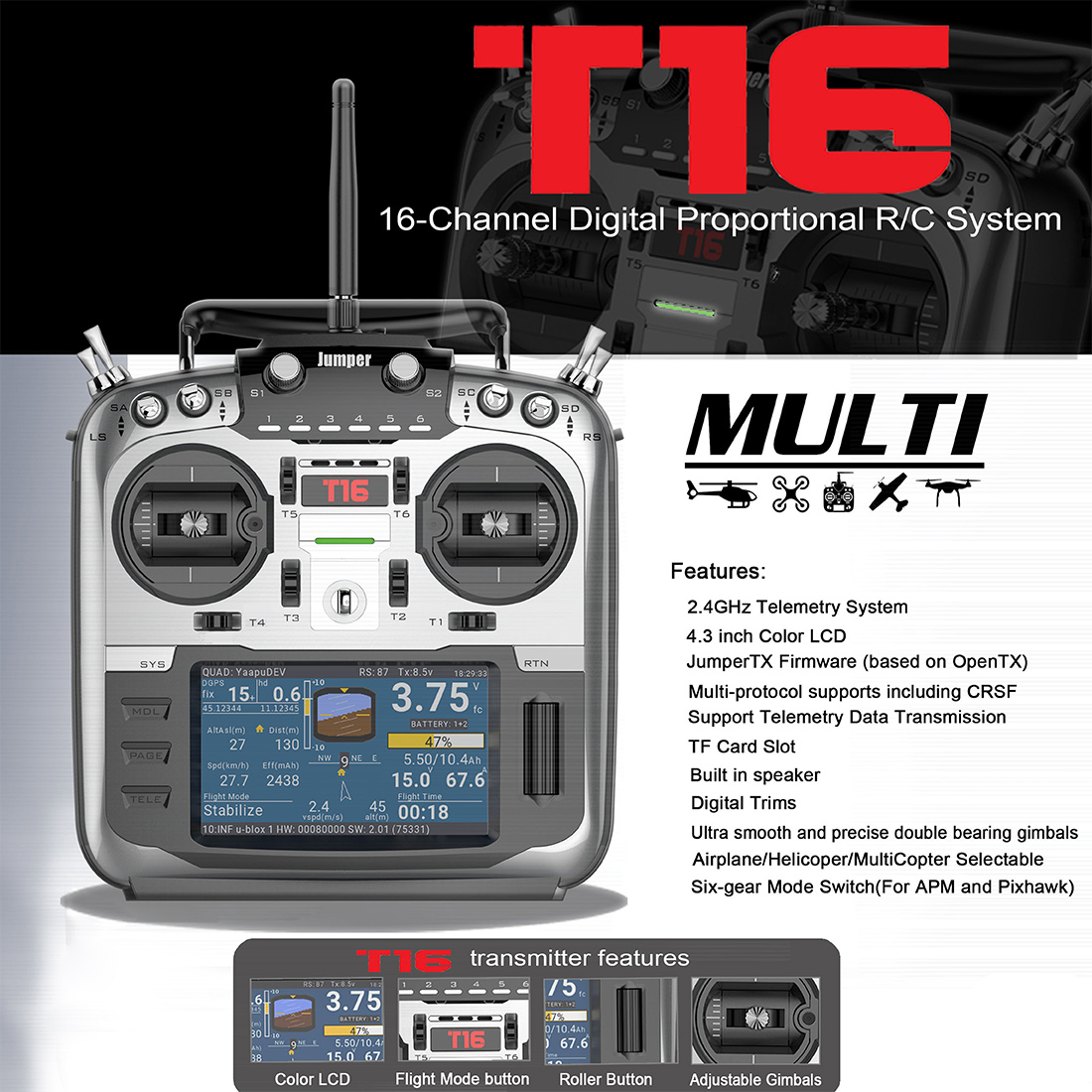 Jumper T16 Open Source Multi-protocol Radio Transmitter JumperTX 2 4G 16CH  4 3 inch LCD for FPV Racing Drone Aircraft