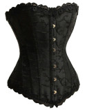A1221-1 Black Satin Lace Up Corset