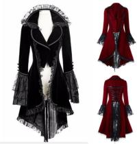 bc0651 Lace-up High Low Coat Black Steampunk Victorian Gothic Jacket
