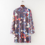 8621 Women's Beach Cover Up Loose Floral Chiffon Kimono Cardigan