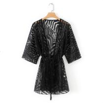 8710 Womens Cardigan Coat Open Front Black Kimono Jacket
