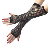 Ladies Girls Neon Sexy Long Fingerless Fishnet Lace High Elasticity Gloves Hand Gloves guantes eldiven handschoenen