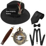1920s Mens Gatsby Costume Accessories,Manhattan Fedora Hat w/Feather,Vintage Pocket Watch,Suspenders,Pre Tied Bow Tie Coldker