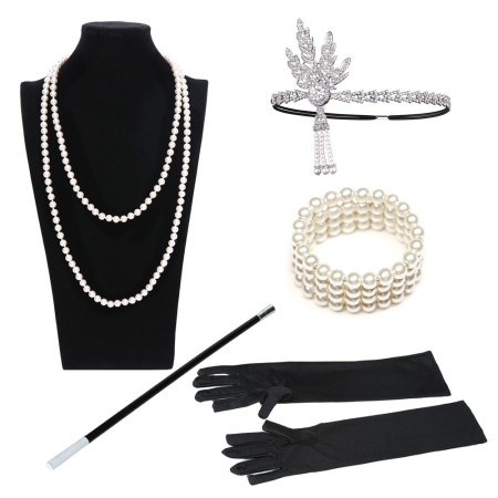 1920S 20S GATSBY feather headband CHARLESTON FLAPPER FANCY DRESS costume ACCESSORIES diamond rings headpiece bracelet