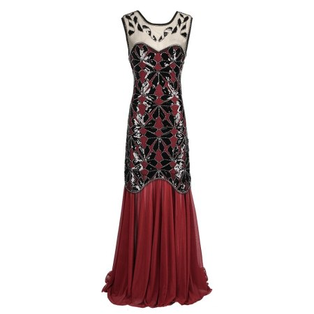 1920s Series Women's Vintage Lotus Leaf Sequined Fringed Sleeveless Dress  Beaded Dress vestido de festa