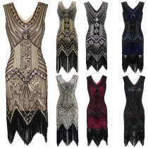 Plus Size 4XL Great Gatsby Party Dress Women 1920s Dress Sexy V-Neck Embroidery Fringe Sequin Beaded Tassels Hem Flapper Dress