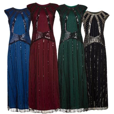 Women 1920s Vintage Long Dress Embellished Great Gatsby Round Neck Retro Costume Lady Sequin Maxi Dress Formal Prom-Gown