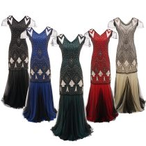 Sheer Long Maxi Formal Party Dress Women Short Sleeve Vestido Beaded Sequin Long Dress
