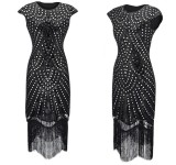 1920s Vintage sequin tassel sleeve party dress
