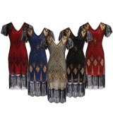 Embellished Beaded Sequin Dress Robe Vestidos Women 1920s Flapper Dress Vintage V Neck Butterfly Sleeve Long Great Gatsby Dress
