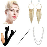 Women's 1920s Accessories Earring Headband Necklace Gloves Cigarette Holder Flapper Great Gatsby Costume Accessories Set Party