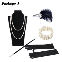 1920S 20S GATSBY CHARLESTON FLAPPER FANCY DRESS ACCESSORIES feather headband COSTUME KIT  Cigarette holder gloves pearl necklace