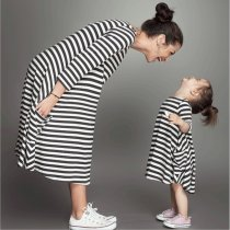 Family Clothes Mother And Daughter Stripe Stitching Sleeveless Casual Sundress