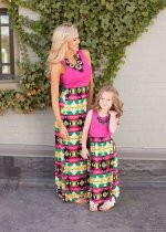 Summer Women Mother Daughter Matching Dresses Summer Girl Dress Clothes Outfit
