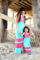Hot new Matching Mother Daughter Clothes Mom and Girls Printed Dress Teenagers