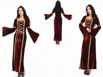 5235 wine red medieval costume