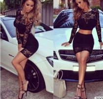 Women's Sexy Club Mini 2 piece Top+ Skirt Long Sleeve Black Lace Bodycon dress Party SV003079