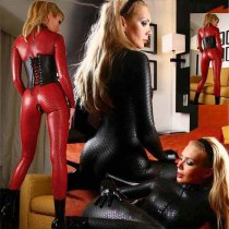 LKH-1078 Sexy red and black sexy ladies leather suits