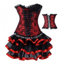 2753RED-3704RED corset dress