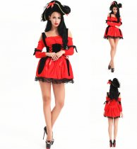 8073red 2012 Halloween Time Sexy Pirate Queen fancy dress Costume