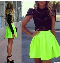 Womens Fluorescent Green Pleated High Waist Skater Tutu Skirt Short Mini Dress SV004374