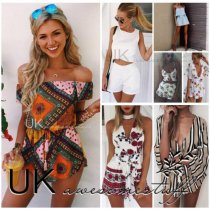 Womens Holiday Mini Playsuit Ladies Jumpsuit Summer Beach Dress Size 6 - 14 Quality RFQ