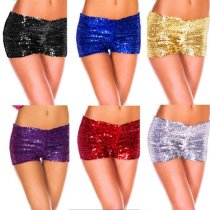 A145 Sequin Shorts Fancy Costume Dance Pants Leg Burlesque Pin Up Wholesale Gold