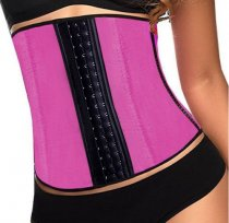 8112  hot pink Latex Waist Cincher Trainer Wholesale