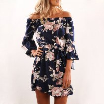 Women Off Shoulder Beach Floral Print Vintage Slash Neck Sexy Short Dress