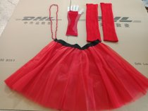 1980s neon costume tutu skirt leg warmer fishnet gloves set