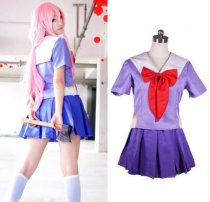 Future Diary Gasai Yuno Mirai Nikki School Uniform Cosplay Costume Suit Wig