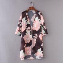 8617 Floral Print Asymmetric Boho Loose Outerwear Beachwear Bikini Cover Up