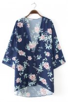 8687 women's Floral Print Sheer Loose Kimono Cardigan Capes