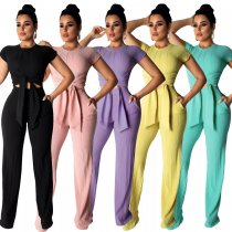 women fashion casual solid top and wide leg pants two piece set women clothing